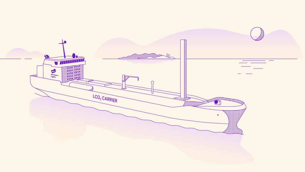 An illustration of a ship used to store and transport carbon dioxide.